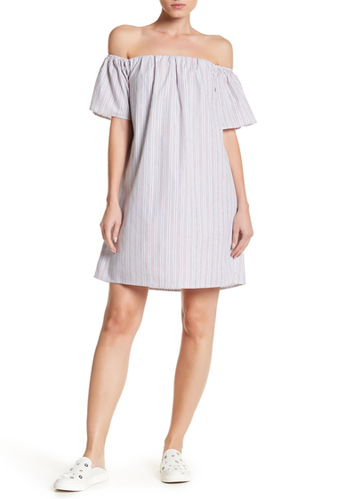 Imbracaminte Femei Bobeau Off-the-Shoulder Stripe Poplin Dress WHITE-BLUE-RED