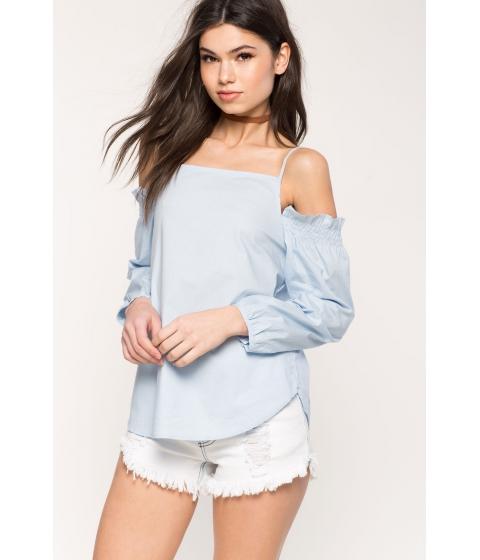 Imbracaminte Femei CheapChic Poplin Cold Shoulder Top Pastel Blue
