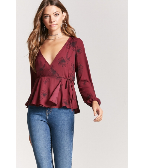 Imbracaminte Femei Forever21 Floral Chiffon Wrap Top BURGUNDYBLACK