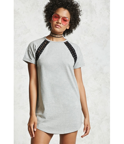 Imbracaminte Femei Forever21 Double Lace-Up T-Shirt Dress HEATHER GREYBLACK