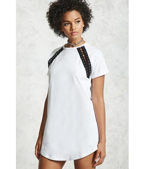 Imbracaminte Femei Forever21 Double Lace-Up T-Shirt Dress WHITEBLACK