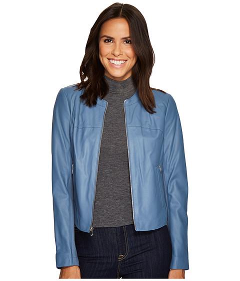 Imbracaminte Femei Via Spiga Round Neck Zip Front Leather Jacket Riviera