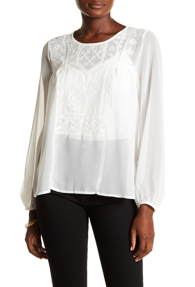 Imbracaminte Femei Lucky Brand Solid Embroidered Peasant Top MARSHMALLO