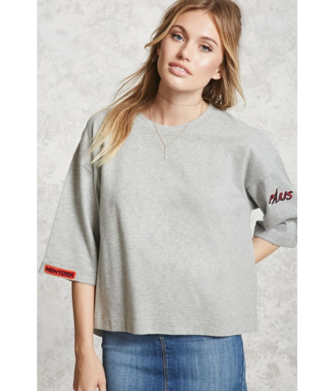 Imbracaminte Femei Forever21 Boxy New York Embroidered Top HEATHER GREY