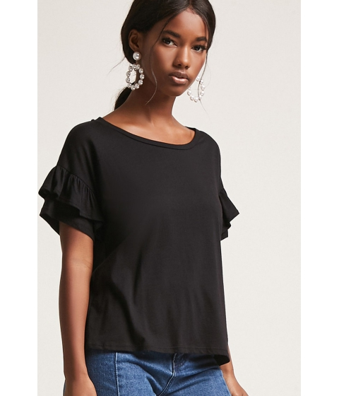 Imbracaminte Femei Forever21 Tiered Ruffle Sleeve Tee BLACK