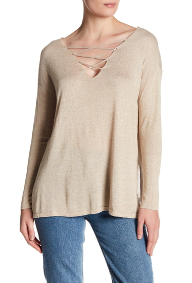 Imbracaminte Femei Poof V-Neck Front Crisscross Knit Sweater ALMOND-WHITE
