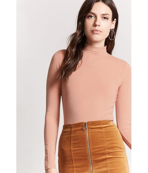 Imbracaminte Femei Forever21 Jersey Knit Mock Neck Top PEACH