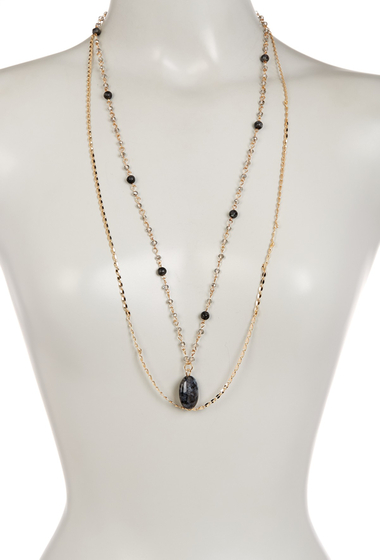 Bijuterii Femei Spring Street 2 Row Long Semi Precious Stone Necklace GREY