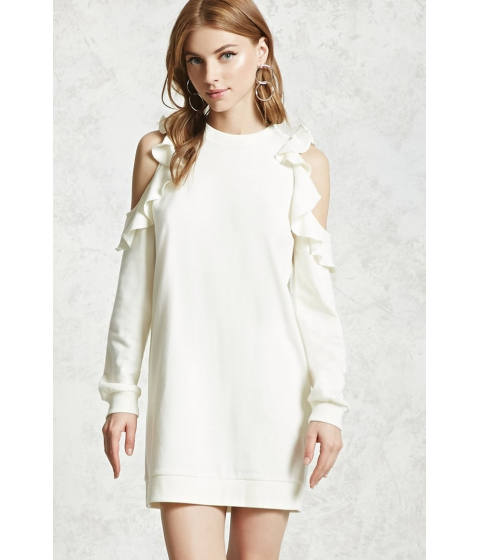 Imbracaminte Femei Forever21 Open-Shoulder Sweatshirt Dress CREAM