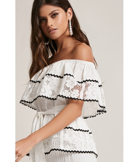 Imbracaminte Femei Forever21 Off-the-Shoulder Crochet Top WHITE