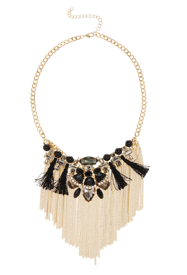 Bijuterii Femei Free Press Tassel Fringe Statement Necklace BLACKCLEAR MULTIGOLD