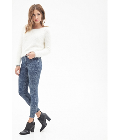 Imbracaminte Femei Forever21 High-Rise - Mineral Wash Skinny Jeans BLUE