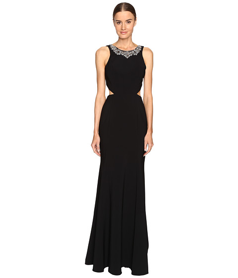 Imbracaminte Femei Marchesa Crepe Gown with Cut Out Detail and Beaded Neckline Black