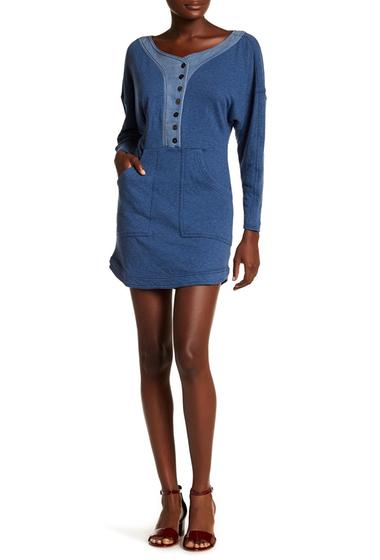 Imbracaminte Femei Free People Long Sleeve Knit Front Pocket Dress BLUE