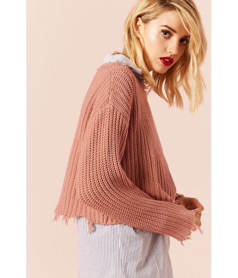Imbracaminte Femei Forever21 Distressed Boxy Sweater DUSTY PINK