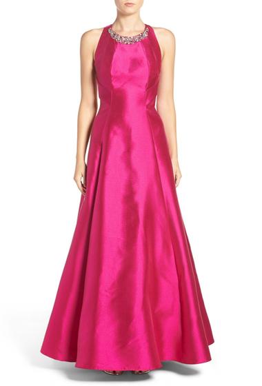 Imbracaminte Femei Eliza J Embellished Mikado Fit Flare Gown FUCHSIA