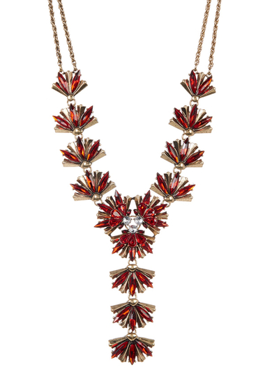 Bijuterii Femei Free Press Floral Statement Y-Necklace CLEAR-RED MULTI-GOLD