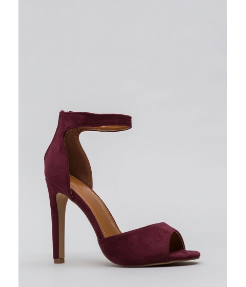 Incaltaminte Femei CheapChic Carve Out Some Time Faux Suede Heels Wine
