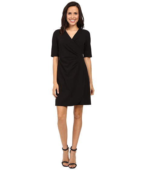 Imbracaminte Femei Adrianna Papell V-Neck Side Rouched Wrap Dress Black