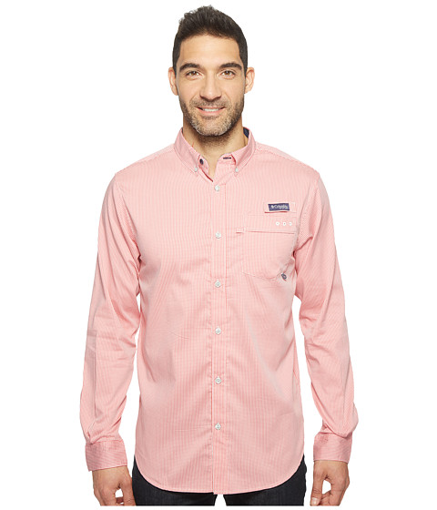 Imbracaminte Barbati Columbia Super Harborside Slim Fit Woven Long Sleeve Shirt Sunset Red Micro Gingham