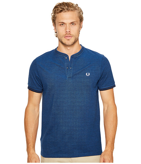 Imbracaminte Barbati Fred Perry Pique Henley T-Shirt Medieval BlueBlack Oxford