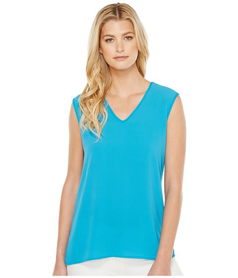 Imbracaminte Femei Vince Camuto Extend Shoulder V-Neck Mix Media Textured Top Havana Blue
