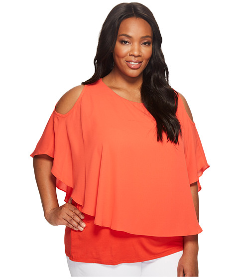 Imbracaminte Femei Karen Kane Plus Size Cold Shoulder Layered Top Orange