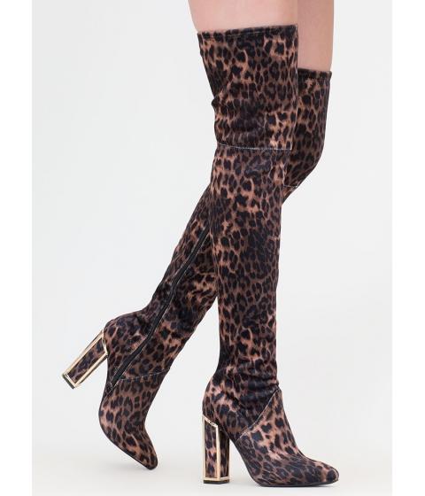 Incaltaminte Femei CheapChic Frame Game Leopard Thigh-high Boots Leopard