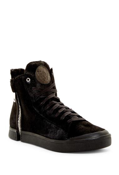 Incaltaminte Barbati Diesel Zip-Around Genuine Calf Fur S-Nentish Special Hi-Top Sneaker BLACK