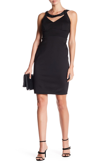 Imbracaminte Femei Marina Embellished Crew Neck Solid Dress BLK