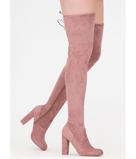 Incaltaminte Femei CheapChic What A Draw Faux Suede Thigh-high Boots Dkblush