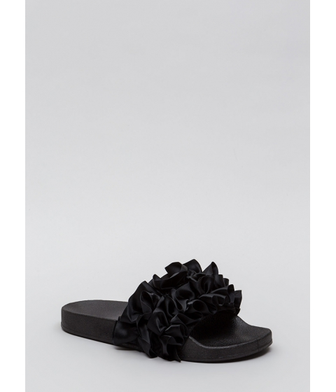 Incaltaminte Femei CheapChic Ruffle Some Feathers Satin Slide Sandals Black