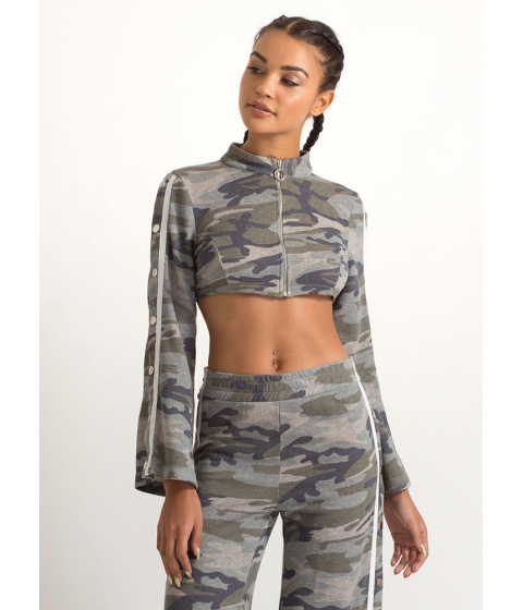 Imbracaminte Femei CheapChic Camo Cool Cropped Bell Sleeve Jacket Camouflage
