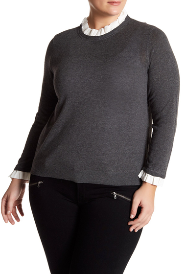 Imbracaminte Femei 14th Union Mixed Media Sweater Plus Size GREY MEDIUM CHARCOAL HEATHER