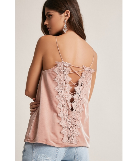 Imbracaminte Femei Forever21 Velvet Lace-Up Cami BLUSH