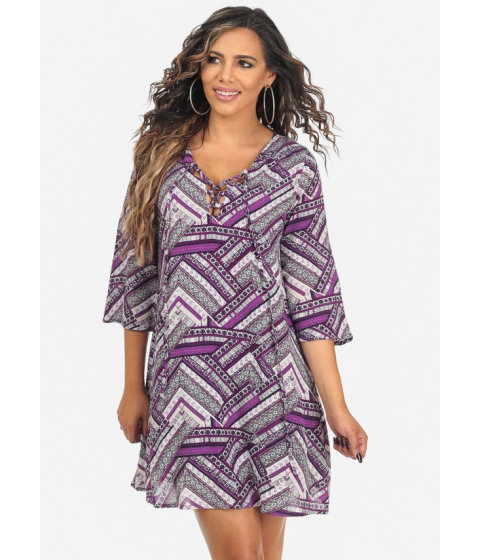Imbracaminte Femei CheapChic Womens Purple 34 Sleeve Printed V-Neck Above Knee Dress Multicolor