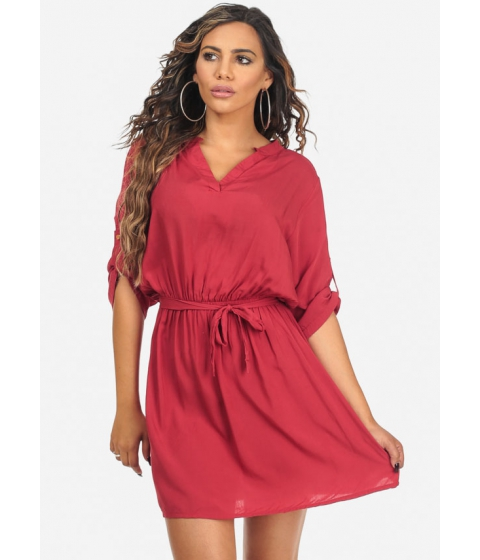 Imbracaminte Femei CheapChic Red Roll Up Elbow Sleeve V-Neck Lightweight Knee Length Dress Multicolor