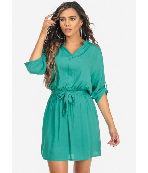 Imbracaminte Femei CheapChic Turquoise Roll Up Elbow Sleeve V-Neck Knee Length Dress Multicolor