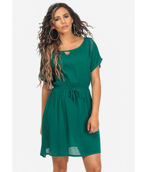 Imbracaminte Femei CheapChic Short Sleeve Teal Crochet Detail Keyhole Neck Above Knee Dress Multicolor