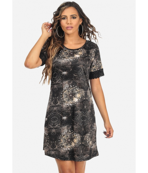 Imbracaminte Femei CheapChic Black Lightweight Short Sleeve Printed Above Knee Dress Multicolor