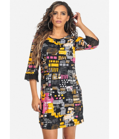 Imbracaminte Femei CheapChic Multicolored Loose Fit 34 Sleeve Printed Above Knee Dress Multicolor