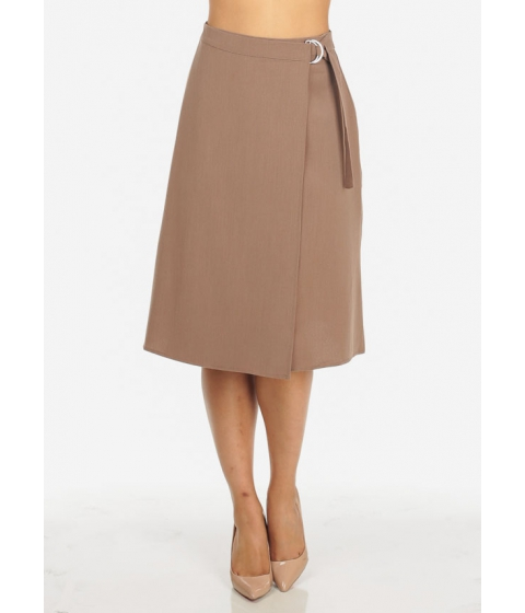 Imbracaminte Femei CheapChic Womens High Waisted Solid Brown Wrap Front Stylish Midi Skirt Multicolor
