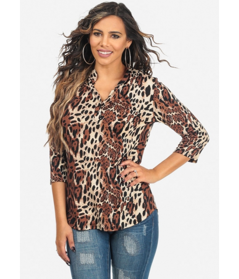 Imbracaminte Femei CheapChic Brown 34 Sleeve Leopard Print V-Neck Lightweight Top Multicolor