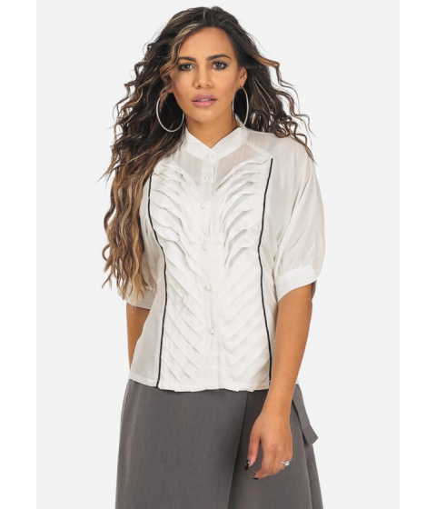Imbracaminte Femei CheapChic White Button Up Lightweight Elbow Sleeve Pleated Blouse Multicolor