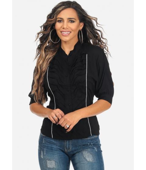 Imbracaminte Femei CheapChic Black Button Up Lightweight Elbow Sleeve Pleated Blouse Multicolor