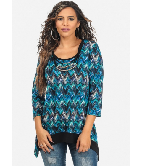 Imbracaminte Femei CheapChic Stylish Blue 34 Sleeve Printed Top with Attached Necklace Multicolor