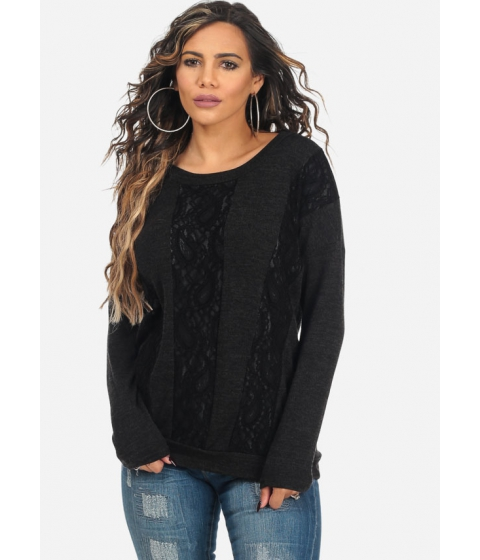 Imbracaminte Femei CheapChic Womens Stylish Black Lace Detail Long Sleeve Sweater Multicolor