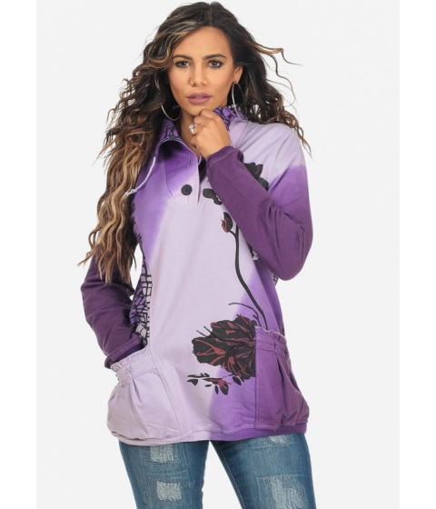 Imbracaminte Femei CheapChic Tie-Dye Plum Long Sleeve Floral Detail Trendy Sweater Multicolor