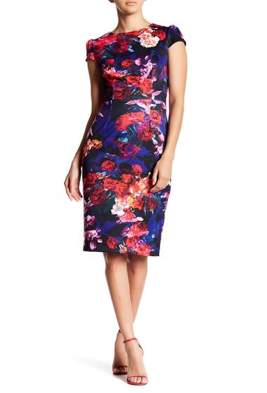 Imbracaminte Femei Betsey Johnson Cap Sleeve Floral Scuba Midi Dress BLKMULTI
