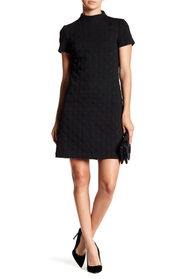 Imbracaminte Femei Betsey Johnson Mock Neck Raised Dot Knit Shift Dress BLACK